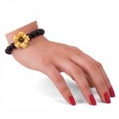دستبند اونیکس با گل طلا