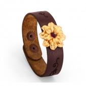 دستبند چرمی با گل طلا | نگین آماتیست