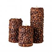 شمع استوانهای با پوشش قهوه 3 سایز