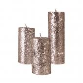 شمع استوانهای اکلیلی نقرهای 3 سایز
