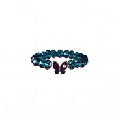 دستبند آبی لاجوردی با چشم زخم پروانه