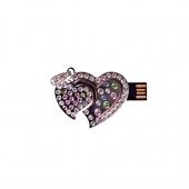 فلش مموری طرح قلب دوتایی نقرهای نگیندار 8GB