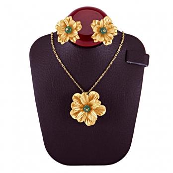 نیم ست گل سنگ جید سبز با گل طلا از روکش طلای 24 عیار