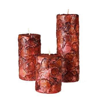 شمع استوانهای با پوشش گل خشک 3 سایز