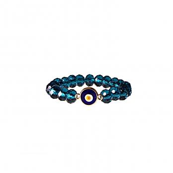 دستبند آبی لاجوردی با چشم زخم دایره