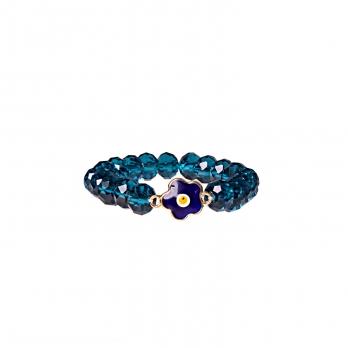 دستبند آبی لاجوردی با چشم زخم گل