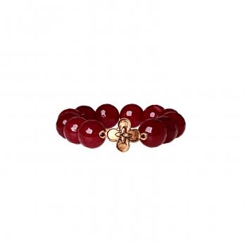 دستبند زرشکی با مهره گل فلزی (یاقوتی)
