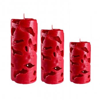 شمع رنگ قرمز مدل یخی 3سایز