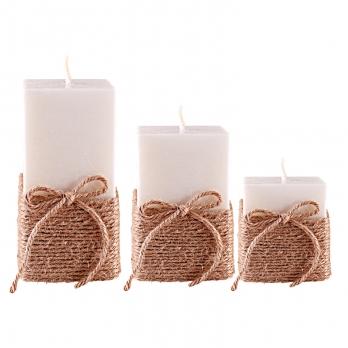 شمع مربع با روبان 3تایی