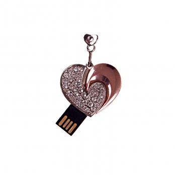 فلش مموری طرح قلب نقرهای مسی 8GB