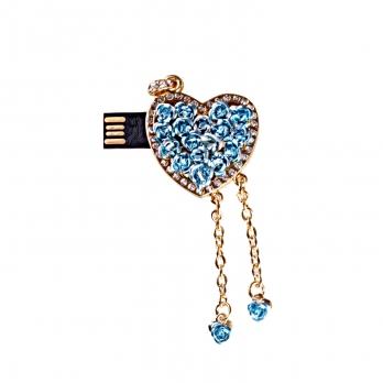 فلش مموری طرح قلب گل آبی آویزدار 8GB