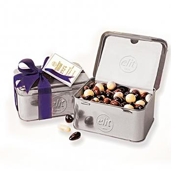 شکلات جعبه فلزی نقرهای الیت