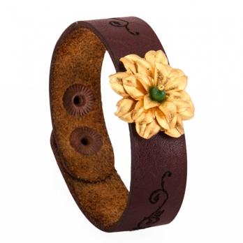 دستبند چرمی سنگ جید سبز