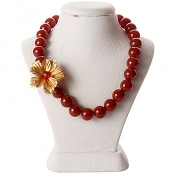 گردنبند تک گل سنگ عقیق