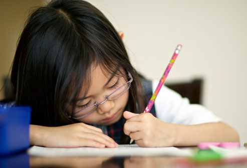 Young Girl Doing Homework